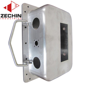Deep drawn aluminum cover with metal wire bending latch assembly